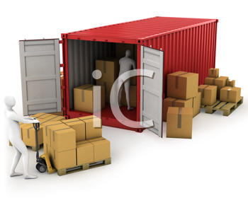 Royalty Free Clipart Image of Men Unloading a Freight Container