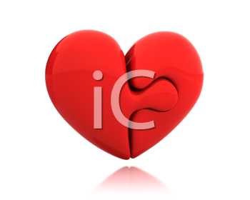 Royalty Free Clipart Image of a Heart Puzzle