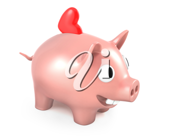 Piggy bank with heart, isolated on white background