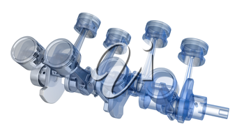 V8 engine pistons on a crankshaft, half x-ray version on black background