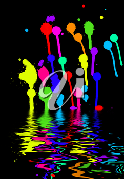 colorful blots on a black background mirrored on the water