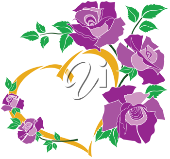 Royalty Free Clipart Image of Flowers and a Gold Heart