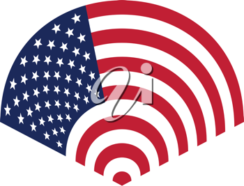 Royalty Free Clipart Image of an American Flag in an Arc