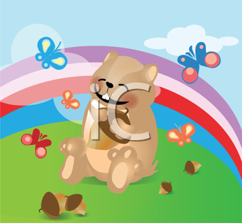 Royalty Free Clipart Image of a Hamster With Acorns