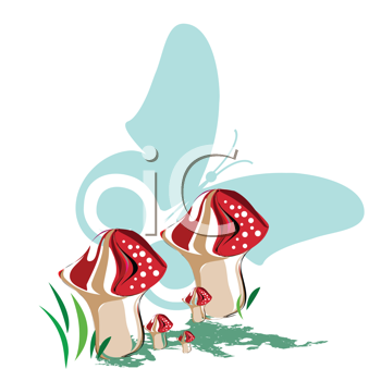 Royalty Free Clipart Image of Mushrooms