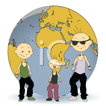 Royalty Free Clipart Image of Three Kids In Front of a Globe