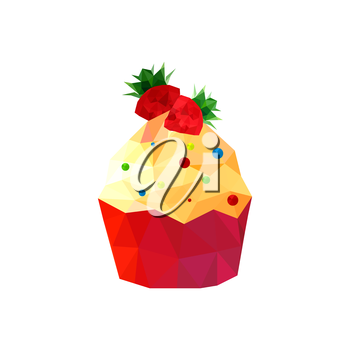 Illustration of origami cupcake with strawberries isolated on white background