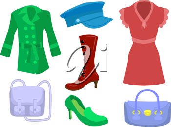 Royalty Free Clipart Image of Women's Clothes and Accessories