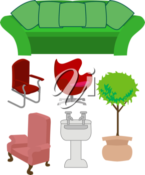 Royalty Free Clipart Image of a Selection of Furniture