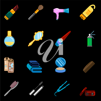 Royalty Free Clipart Image of Beauty and Cosmetic Icons
