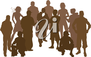 Royalty Free Clipart Image of Silhouettes of People