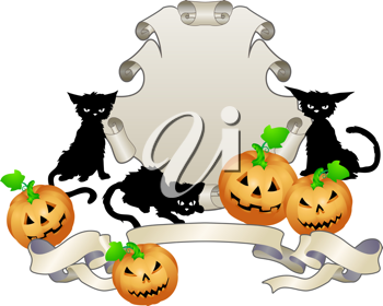 Royalty Free Clipart Image of a Halloween Themed Shield