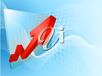 Royalty Free Clipart Image of a Graph With Arrows