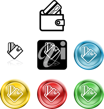 Royalty Free Clipart Image of Credit Card Icons