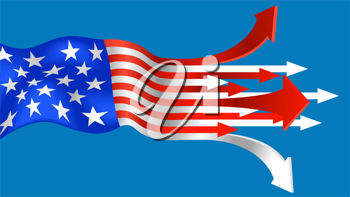 Royalty Free Clipart Image of an American Flag Illustration