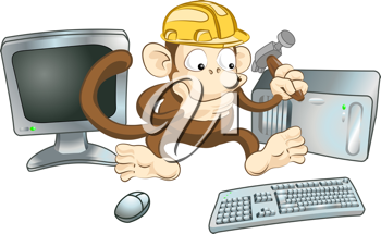 Royalty Free Clipart Image of a Monkey Trying to Fix a Computer
