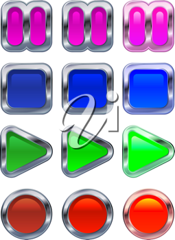 Royalty Free Clipart Image of Metallic Control Buttons