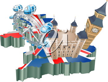 Royalty Free Clipart Image of Tourist Attractions of The United Kingdom