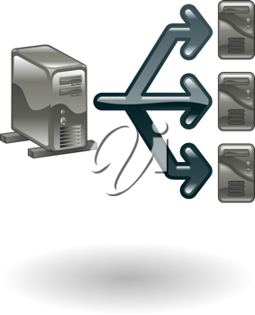 Royalty Free Clipart Image of a Network of Computers