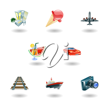 Royalty Free Clipart Image of Travel and Tourism Icons