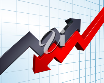 Royalty Free Clipart Image of Arrows Indicating Profit and Loss on a Graph