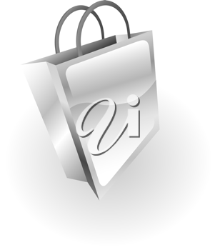 Royalty Free Clipart Image of a Metallic Shopping Bag