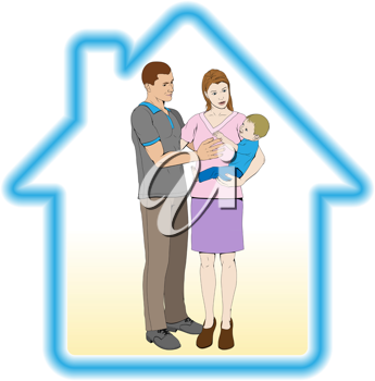 Royalty Free Clipart Image of Parents Holding Their Child in a Home