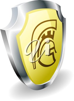 Royalty Free Clipart Image of a Spartan Shield