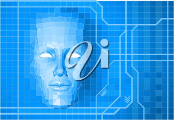 Royalty Free Clipart Image of a Futuristic Polygon Face