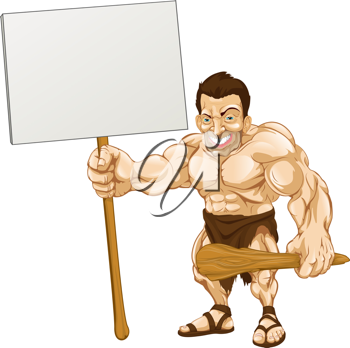 Royalty Free Clipart Image of a Caveman Holding a Sign