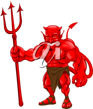 Royalty Free Clipart Image of a Devil Holding a Pitchfork