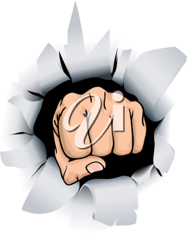 Royalty Free Clipart Image of a Fist Breaking Through a Wall