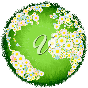 Royalty Free Clipart Image of a World Made of Flowers