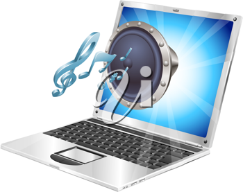 Royalty Free Clipart Image of a Megaphone on a Laptop