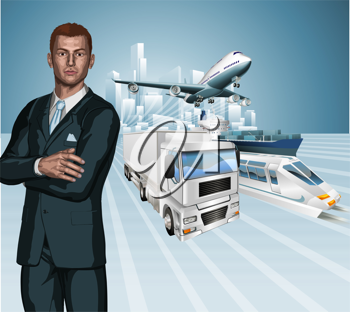 Royalty Free Clipart Image of a Businessman in Front of Various Forms of Transportation