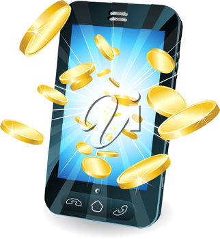 Royalty Free Clipart Image of Gold Coins Bursting from a Smartphone Screen
