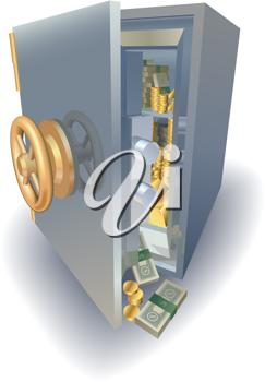 Royalty Free Clipart Image of an Opened Safe
