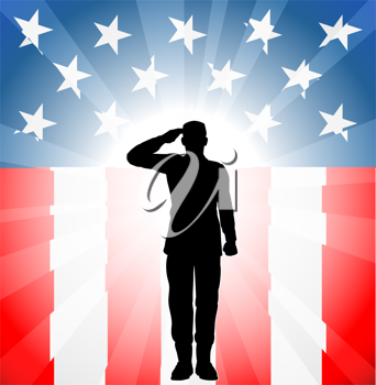 Royalty Free Clipart Image of a Man Saluting in Front of the American Flag