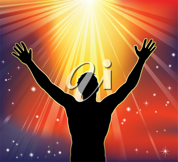 Royalty Free Clipart Image of a Man With Arms Raised