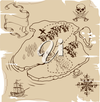 Royalty Free Clipart Image of an Old Fashioned Pirate Map