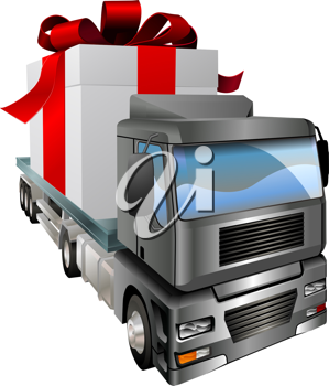 Royalty Free Clipart Image of a Truck Transporting a Present