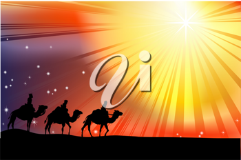 Royalty Free Clipart Image of Three Wisemen Traveling Through the Desert