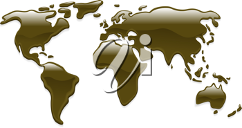 Royalty Free Clipart Image of a World Map Made of Crude Oil