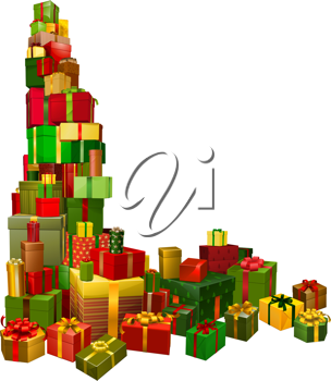 Royalty Free Clipart Image of a Lot of Christmas Gifts
