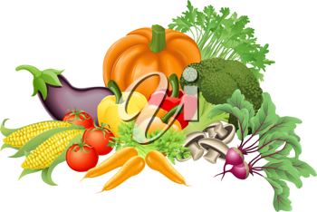 Royalty Free Clipart Image of an Assortment of Vegetables