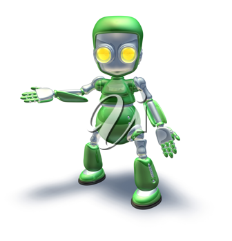 Royalty Free Clipart Image of a Green Robot
