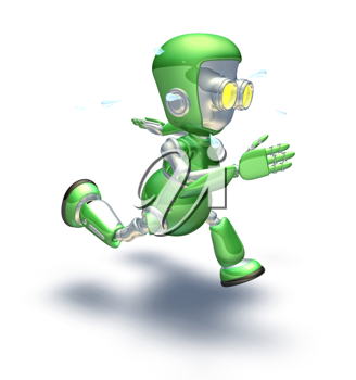 Royalty Free Clipart Image of a Robot Running