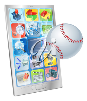 Illustration of a baseball ball flying out of a broken cell phone screen