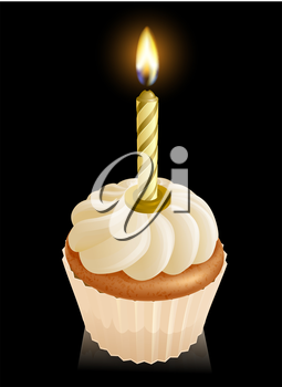 Fairy cake cupcake graphic with gold birthday candle on top