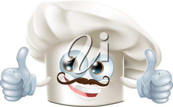 A happy cartoon chef character doing a thumbs up gesture
